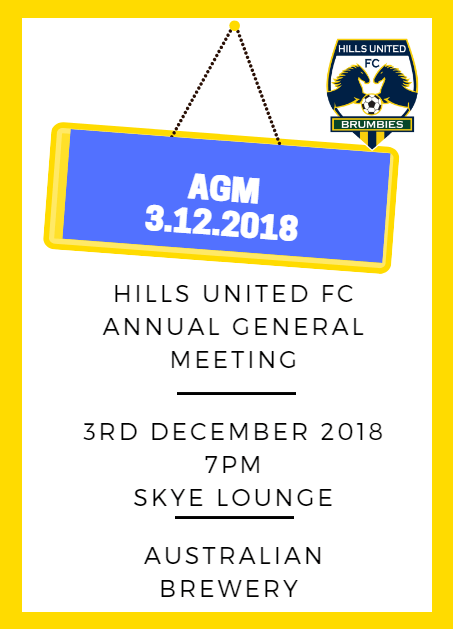 Annual General Meeting 3rd December 2018 7PM Australian Brewery
